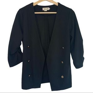 Molly Bracken Gathered 3/4 Sleeve Open Blazer